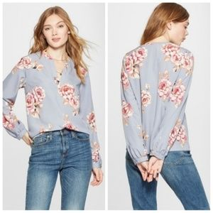 🆕️a new day floral crepe popover blouse